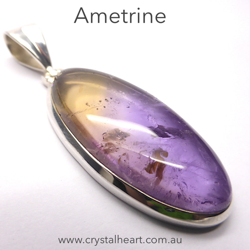 Ametrine Pendant | Oval Cabochon | Super Amethyst & Citrine Zoning | 925 Sterling Silver | Simple well made Besel Setting with classy hinged bail | Libra Stone | Crystal Heart Melbourne Australia 1986