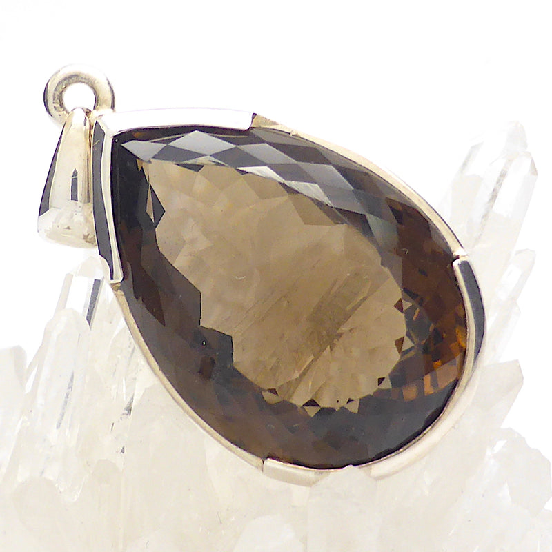 Pendant Smoky Quartz | Large Faceted Teardrop | 925 Sterling Silver | Genuine Gemstone | Body Consciousness | Sagittarius Capricorn stone | Crystal Heart Melbourne Australia since 1986 | AKA ~ Smokey, Cairngorm, Morion, Indian Topaz Crystal