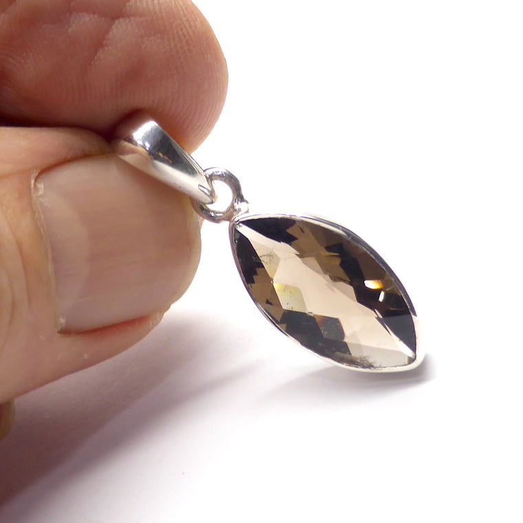 Smoky Quartz Pendant, Faceted Marquise, 925 Silver ij1