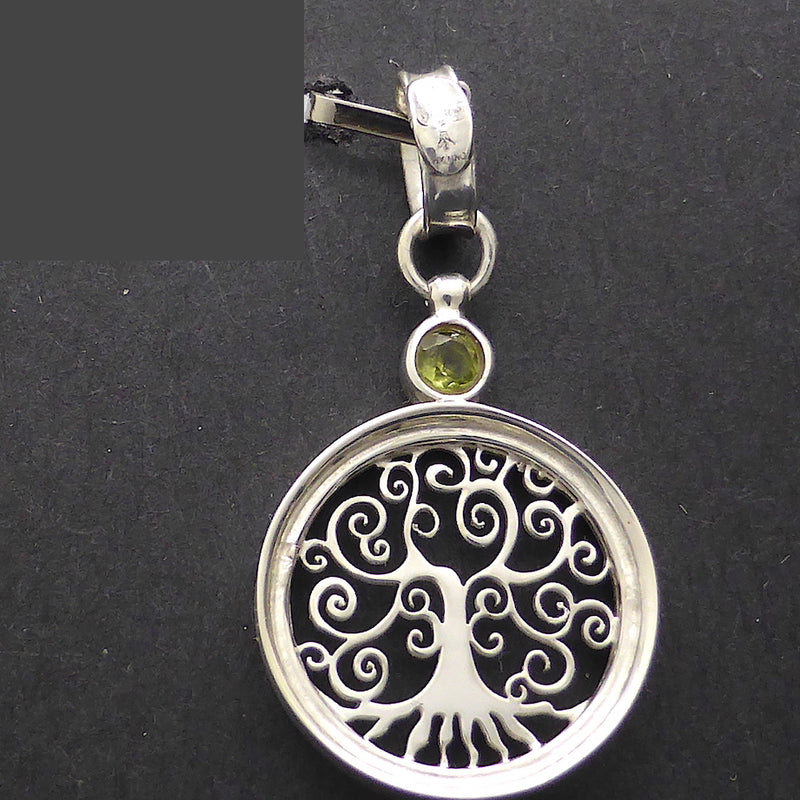 Tree Pendant, Italian, Faceted Gemstone, Citrine or Peridot |  925 Sterling Silver  | Growth Abundance Creativity Grounding | Crystal Heart Melbourne Australia Unique Stones & Silver since 1986