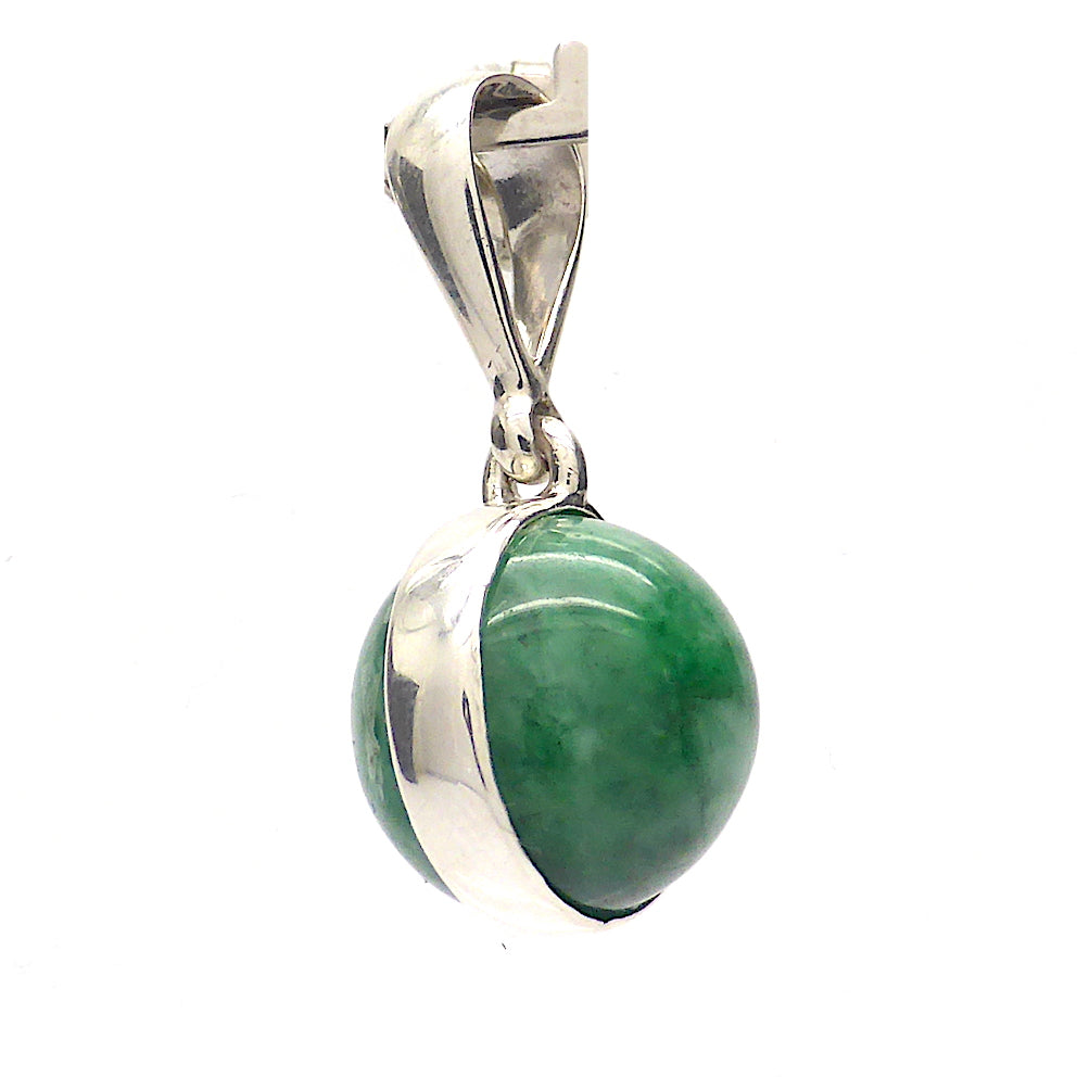 Jadeite Pendant | 925 sterling Silver | Simple Ball | Myanmar | Libra Star Stone | Crystal Heart Melbourne Australia since 1986