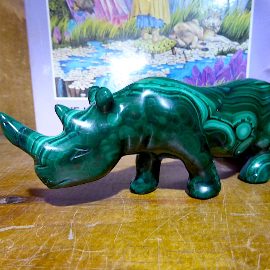 Malachite Rhino Carving | Congo | Lovely Colour and Markings | Primitive Shamanic Appeal | Crystal Heart Melbourne Australia since 1986
