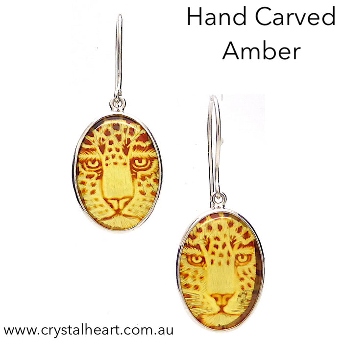 Amber Earrings | 925 Sterling Silver | Hand Carved Jaguar Face in each Cabochon | Super Leo present | Crystal Heart Melbourne Australia since 1986