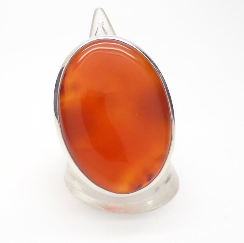 Carnelian Cabochon Ring | 925 Sterling Silver | US Size 9 | Simple Strong Setting | Consistent Color | Creativity Focus | Cancer Leo Taurus | Crystal Heart since 1986