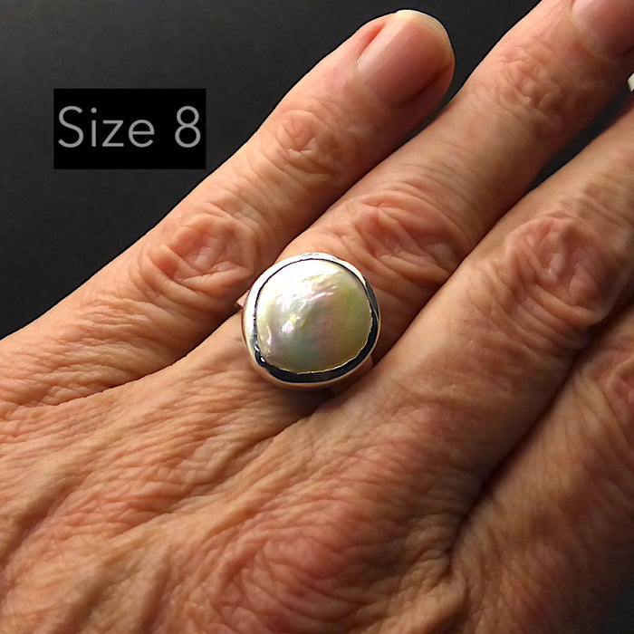 Freshwater Baroque Pearl Ring | 925 Sterling Silver | Rainbow Lustre | Feminine Grace | US Size 6.5 or 8 | Crystal Heart Melbourne Australia since 1986