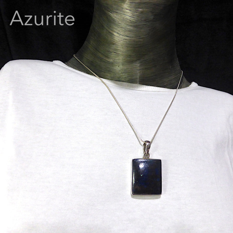 Azurite with Cuprite Pendant | Cabochon Square | 925 Sterling Silver | Spiritual insight grounded relaxed activating | Sagittarius Stone | Crystal Heart Melbourne  1986