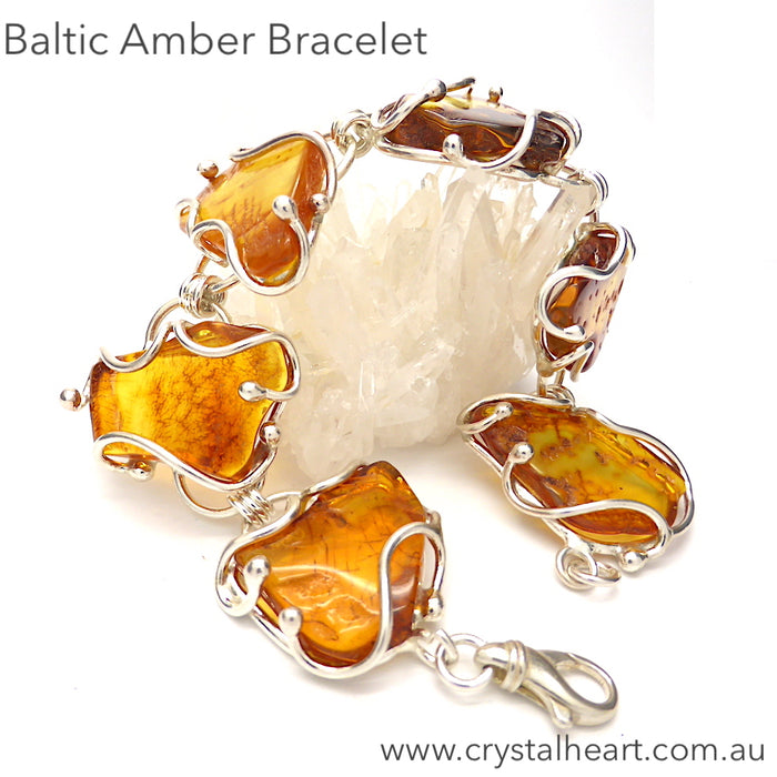 Baltic Amber Bracelet, genuine, Large Freeform Nuggets | 925 Sterling Silver | Cage Setting  | Natural Stone | Crystal Heart Melbourne Australia since 1986