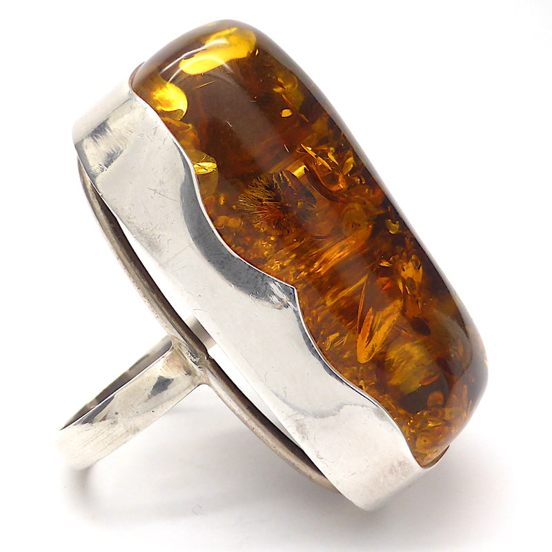 Baltic Amber Freeform Nugget Ring | Large Polished Cabochon | 925 Sterling silver | Size 9 | Sourced from Poland  | Crystal heart Melbourne Australia since 1986