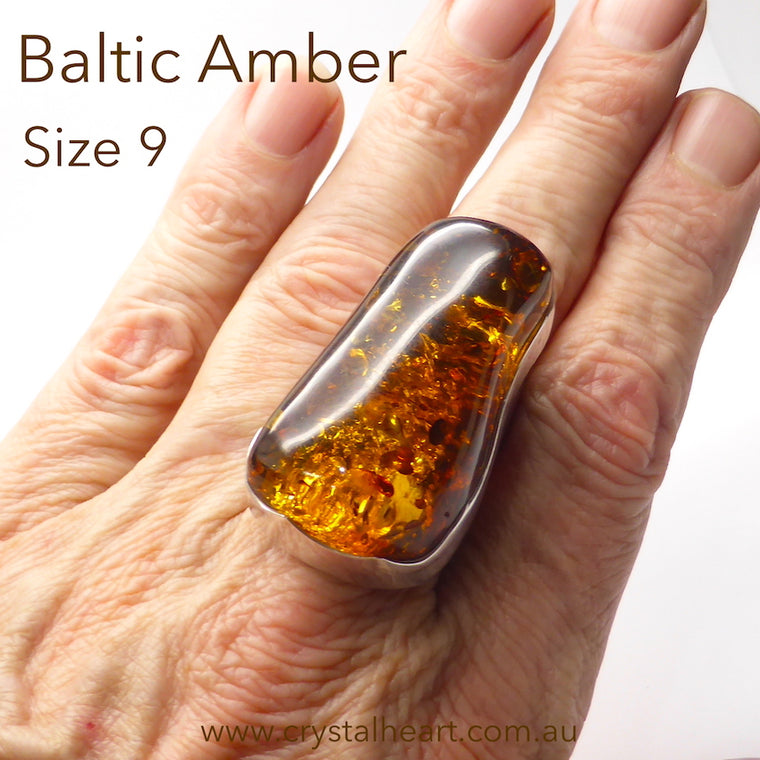 Amber Ring, Baltic, Large Freeform Nugget, 925 Silver, j5