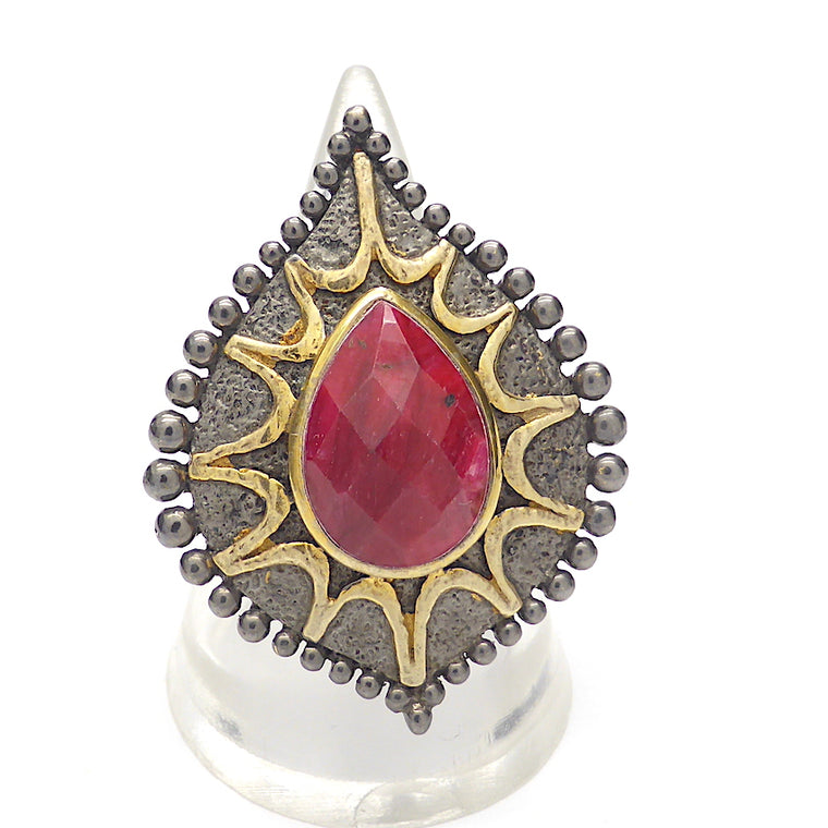 Ruby Matrix Ring, Silver & Gold, Antique Style