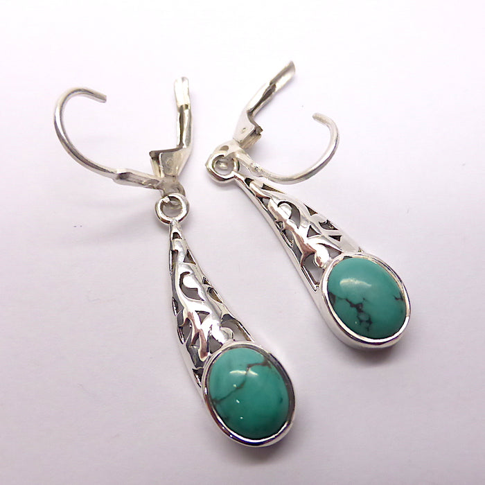 Turquoise Earrings, Oval Cab, 925 Sterling Silver filigree | Secure Lever Hooks | Lovely Style and Stone | Crystal Heart Melbourne Australia since 1986