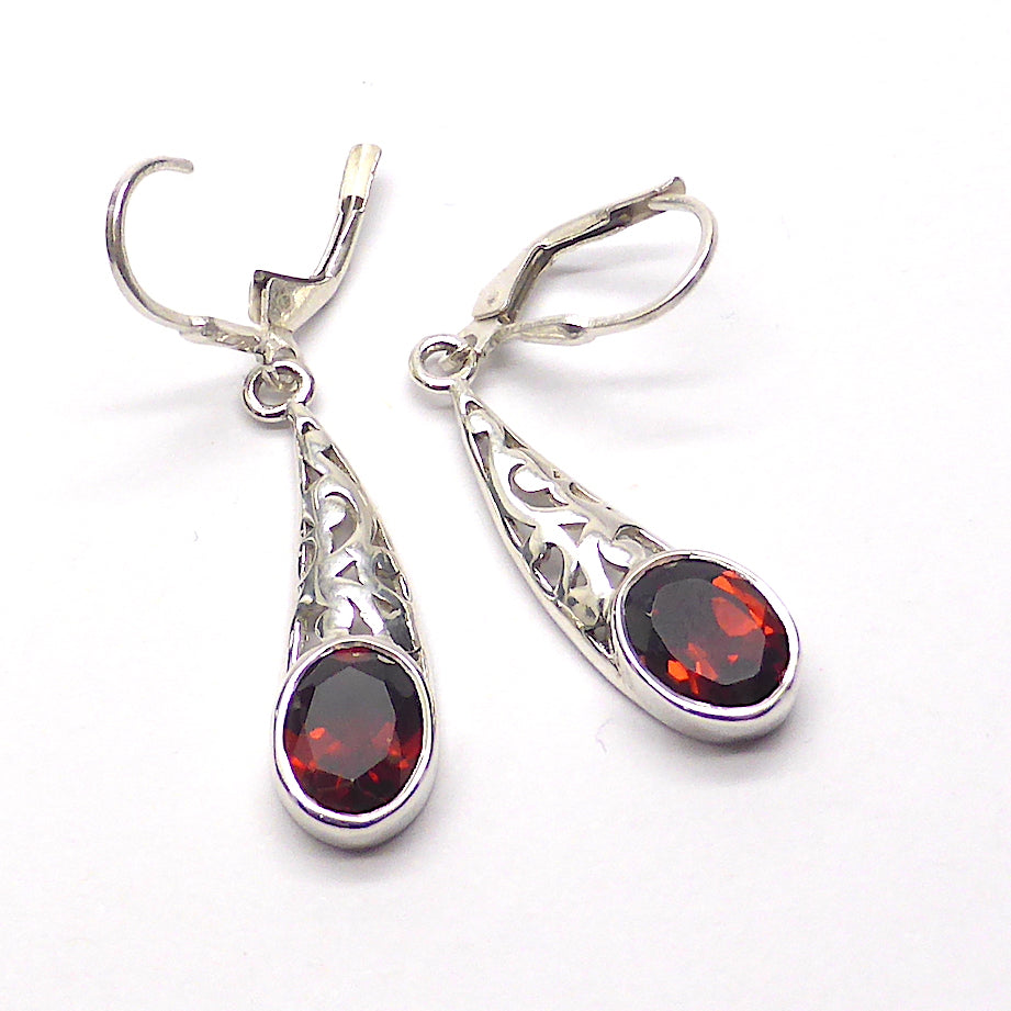 Garnet Earrings, Oval Facets | 925 Sterling Silver | Filigree Comet's Tail | Secure Lever Hooks | Lovely Style and Stone | Crystal Heart Melbourne Australia since 1986