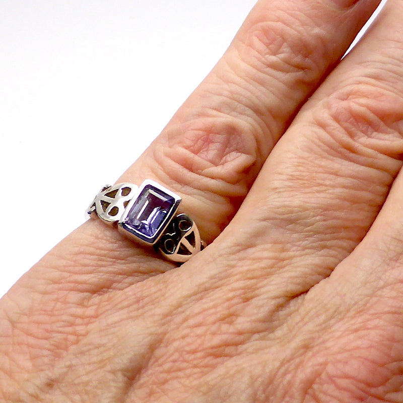 Amethyst Ring | Faceted Emerald Cut | 925 Silver | Celtic Heart Detail | Dainty Elegance | US Size 6 | 7 | 8 | 9 | Genuine gems from Crystal Heart Australia since 1986