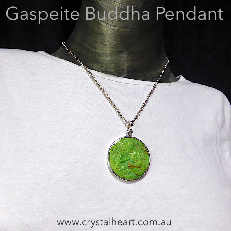 Gaspeite Buddha Hand Carved Pendant | 925 Silver | Inspirational Support on your path | Non attachment | Middle Path | Crystal Heart Melbourne Australia since 1986