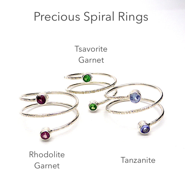 Spiral Gemstone Ring ~ Rhodolite, Tanzanite or Tsvaorite