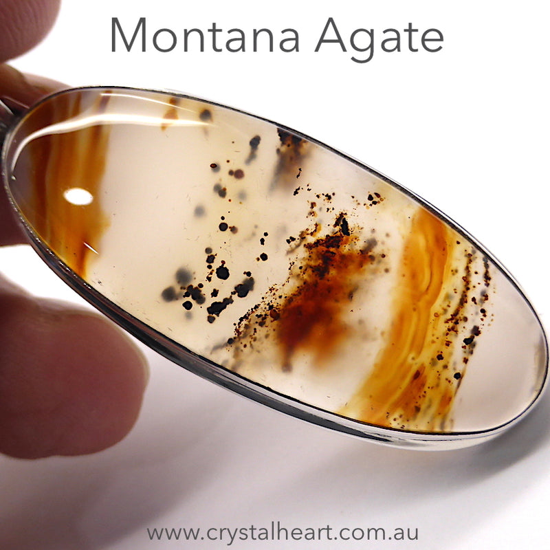 Montana Agate Pendant | Yellowstone | 925 Sterling Silver Setting | Powerful Healer | Balancing Empowering truthful confident Creative | Gemini | Crystal Heart Melbourne Australia since 1986