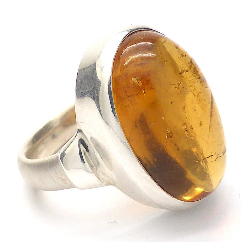 Ring Natural Citrine Cabochon | 925 Sterling Silver | Unheated | US Size 7 | AUS or UK size N 1/2 | Abundant Energy | Repels Negativity | Aries Gemini Leo Libra | Crystal Heart Melbourne Australia  since 1986
