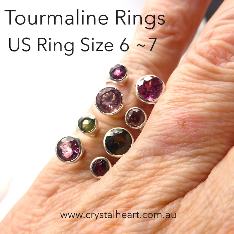 Tourmaline Ring, Faceted Rounds, Adjustable | Genuine Gemstones | Green or Red | 925 Sterling Silver | Adjustable | US Size 6 to 7 | Crystal Heart Melbourne Australia since 1986