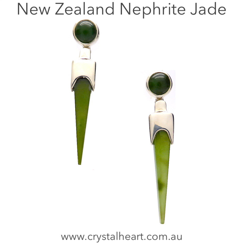 Stud Earrings NZ Nephrite Jade | 925 sterling Silver | Elegant long tapering stone dangles from stud set with round jade | Libra Star Stone | Crystal Heart Melbourne Australia since 1986