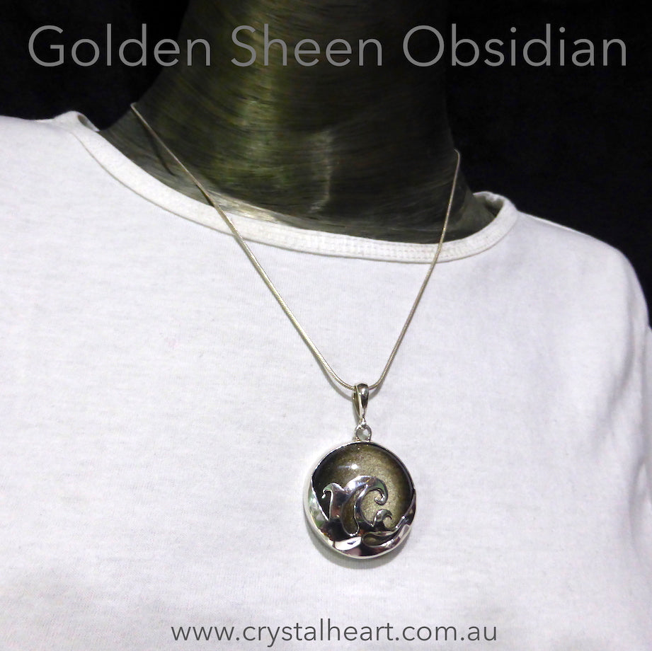 Golden Sheen Obsidian Pendant | 925 Sterling Silver Wave Motif | Striking Piece | Harmony in Chaos | Spiritual revolution | Crystal Heart Australia since 1986