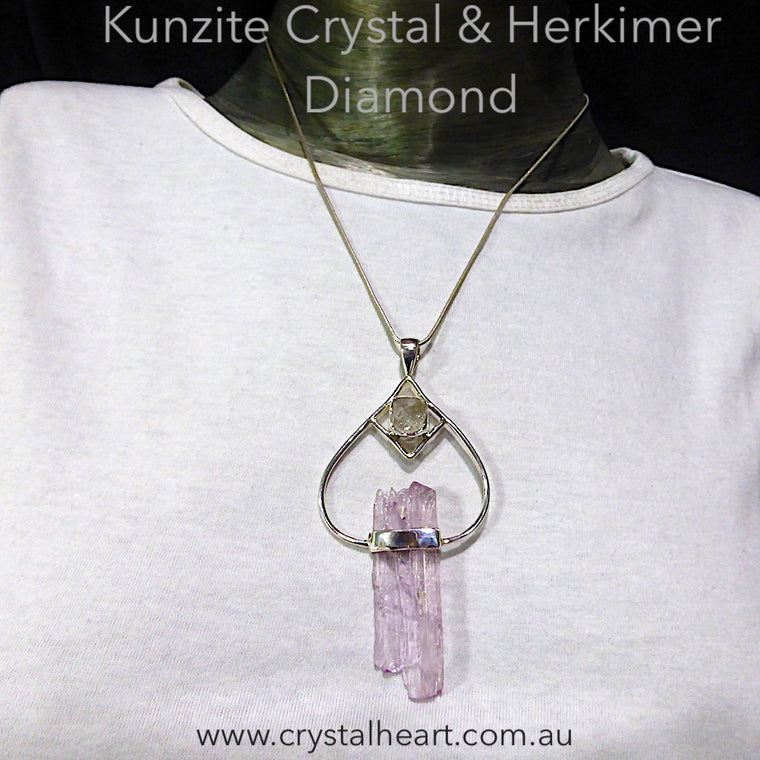 Kunzite Pendant, Raw Crystal with Herkimer, 925 Sterling Silver, gj2