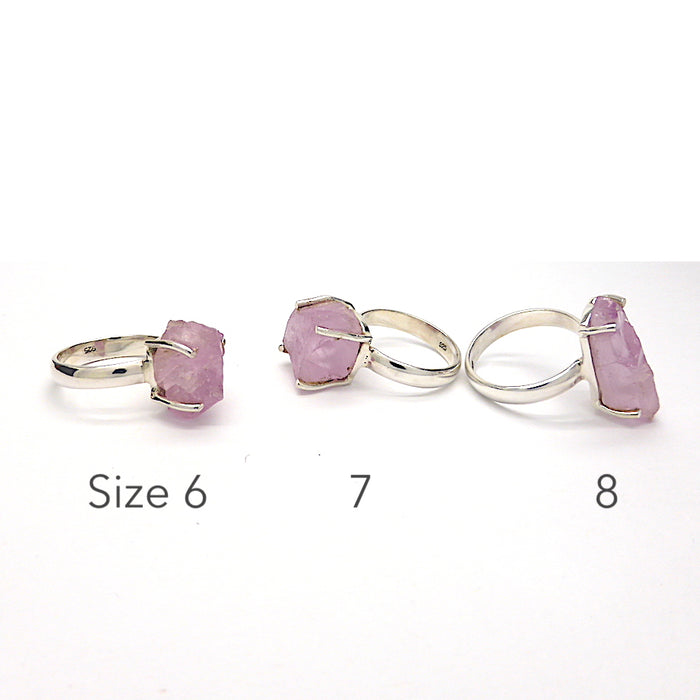 Raw Kunzite Nugget Ring | Pink Spodumene | 925 Sterling Silver | Claw Setting | Open Back | Wisdom of the Heart | Taurus Scorpio Leo | Size 6,7,8,9 and 10 | Unique Design from Crystal heart Melbourne Australia since 1986