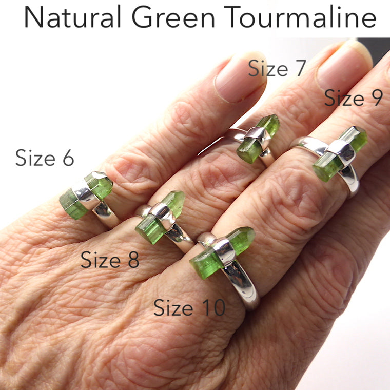 Tourmaline Ring, Green Raw Crystal, 925 Silver, gj