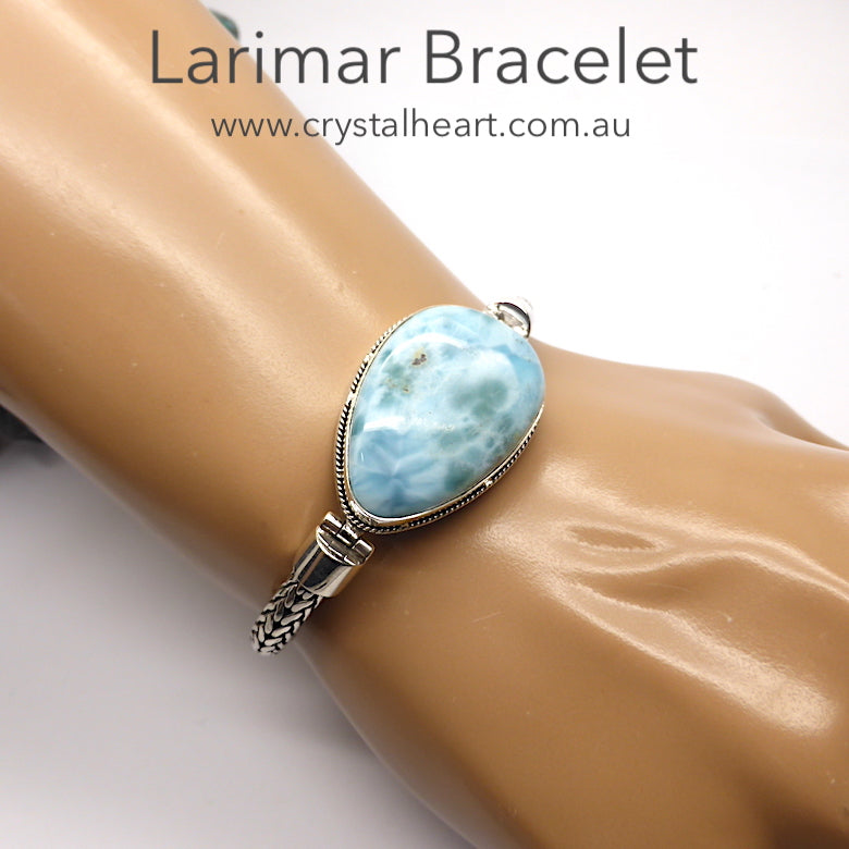 Larimar Bracelet ~ Large Teardrop | Open backed setting with Silver Rope work around Besel which blends  with the sturdy flexible woven silver band | Strong well made hinge connection between band and besel |  Strong Clasp with  safety attachment | 925 Sterling Silver | Length 185 mm | Dominican Republic Caribbean | Leo Stone | Pectolite | Genuine Gems from Crystal Heart Melbourne Australia since 1986