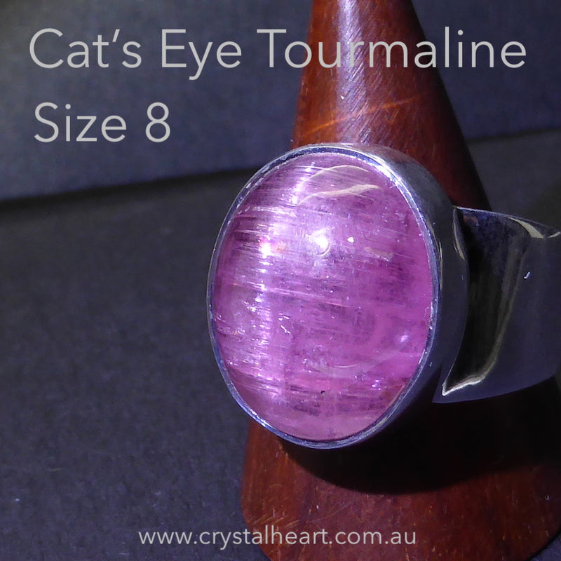 Deep Pink Tourmaline Ring ( Rubellite ) | Oval Cabochon with rare Cat's Eye |925 Sterling Silver | US Size 8 | AUS Size P 1/2  | Star Stone Virgo Gemini Libra Taurus | Genuine Gems from Crystal Heart Melbourne Australia since 1986