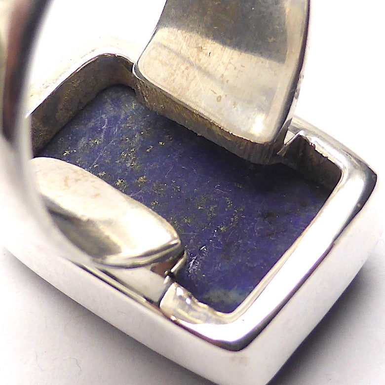 Lapis Lazuli Raw Drusy Ring | Oblong Stone | 925 Sterling Silver | US Size 7 | AUS Size N 1/2 | Natural stone deep blue spangled with Gold Pyrites | Classic setting, wide band | Sagittarius Libra Taurus Capricorn | Meditation | Mindfulness | Inner Truth | Genuine Gems from Crystal Heart Melbourne Australia since 1986