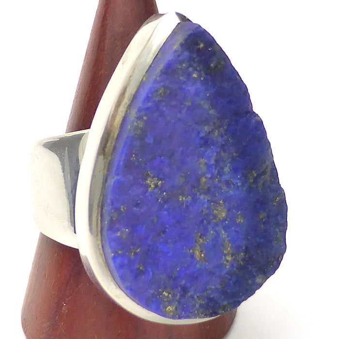 Lapis Lazuli Raw Drusy Ring | Teardrop Stone | 925 Sterling Silver | US Size 7 | AUS Size N 1/2 | Natural stone deep blue spangled with Gold Pyrites | Classic setting, wide band | Sagittarius Libra Taurus Capricorn | Meditation | Mindfulness | Inner Truth | Genuine Gems from Crystal Heart Melbourne Australia since 1986