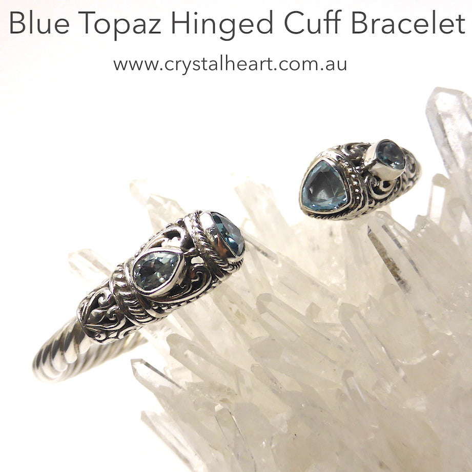 Faceted Blue Topaz Teardrop and Trilliant in detailed Silver Bracelet | Stiff Celtic Torc style twisted silver rope work | Ancient Style | Hinged for easy comfortable fit | Genuine Gemstones from Crystal Heart Melbourne Australia since 1986