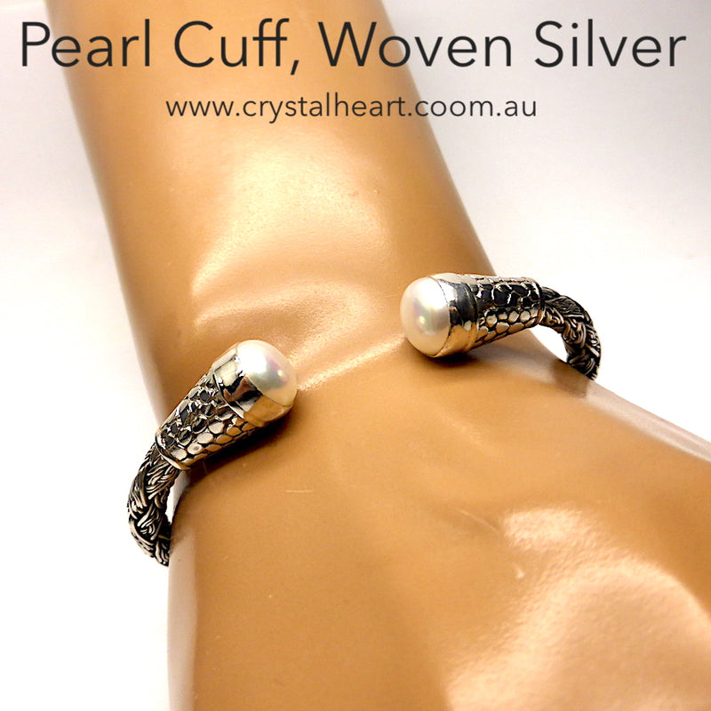 Pearl Cuff | Woven Plaited silver | Ancient Style | Genuine Gemstones from Crystal Heart Melbourne Australia since 1986