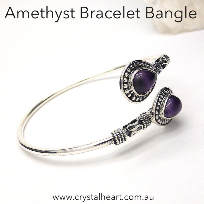 Amethyst Teardrop Bracelet, Bangle Style | Bendy Silver | Genuine Gemstones from Crystal Heart Melbourne Australia since 1986