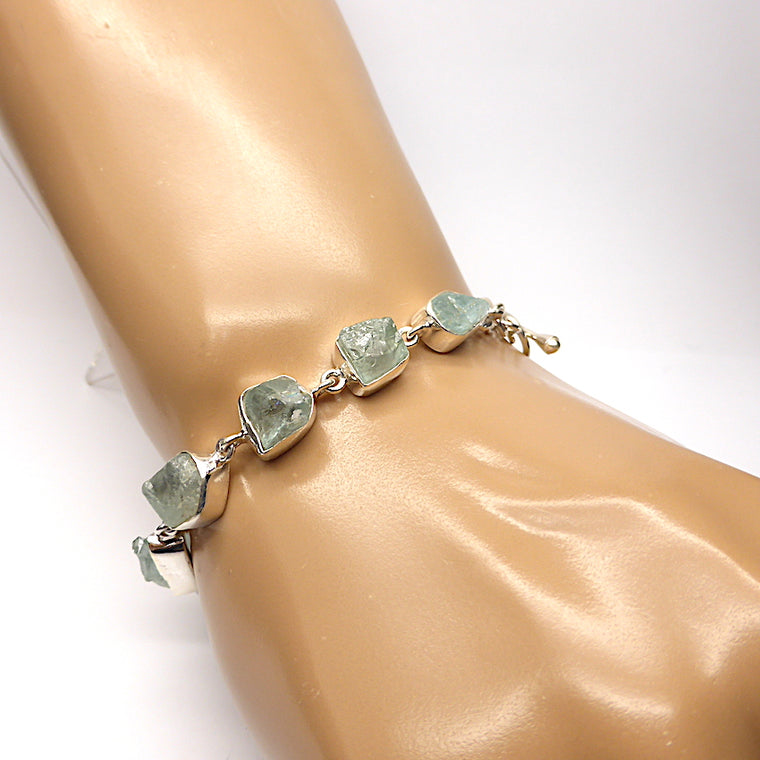 KS Aquamarine Bracelet, Raw Nuggets, 925 Silver ks