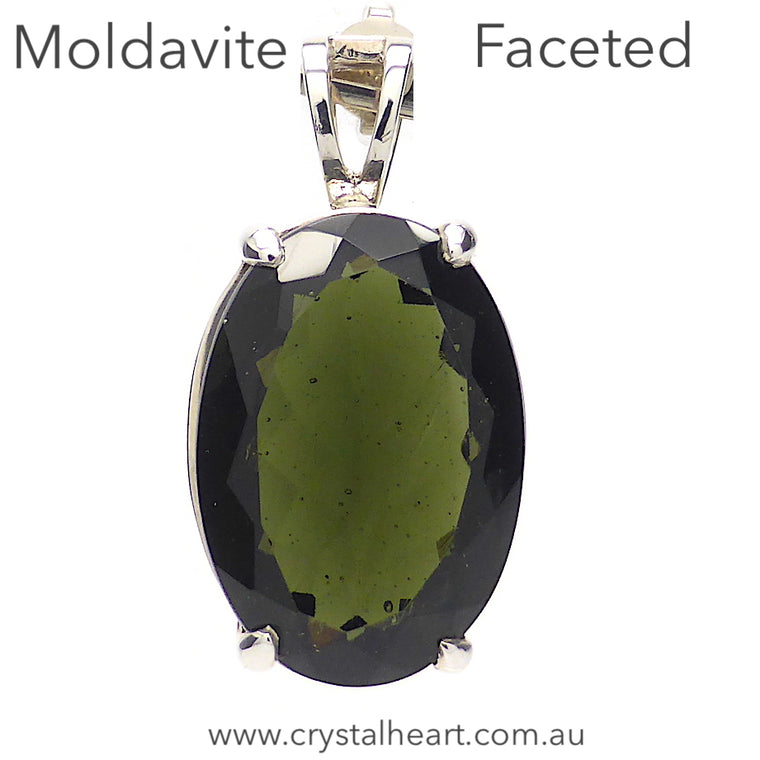 Moldavite Pendant, Faceted Oval, 925 Silver, p7