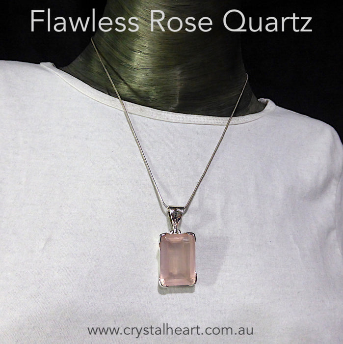 Rose Quartz Pendant | Faceted emerald Cut | Gem Quality ~ Flawless consistent Colour | 925 Sterling Silver | Star Stone Taurus Libra | Genuine Gemstones from Crystal Heart Melbourne since 1986