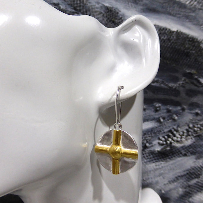 Earring Pendant and Ring ~ Raised Gilt Cross on 925 Sterling Silver Circle | Powerful Symbology, Ancient and Eternal | Crystal Heart Melbourne Australia since 1986