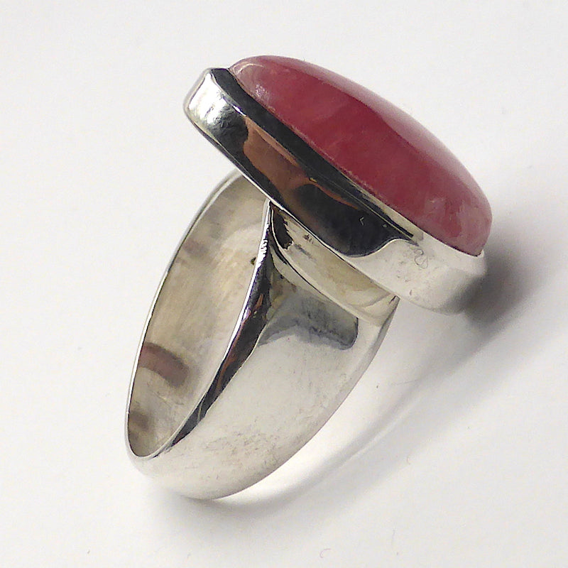 Rhodochrosite Ring | Teardrop Cab | Besel Set with generous band |  925 Silver | US size 9 | Passionate Heart | Loving Dream realisation | Scorpio Leo | Genuine Gems from Crystal Heart Australia 1986