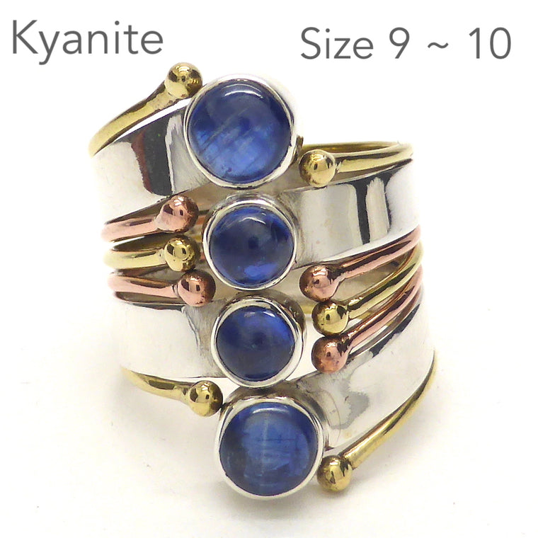 Blue Kyanite Ring, Four Round Cabs, 925 Silver & Gold, gd4