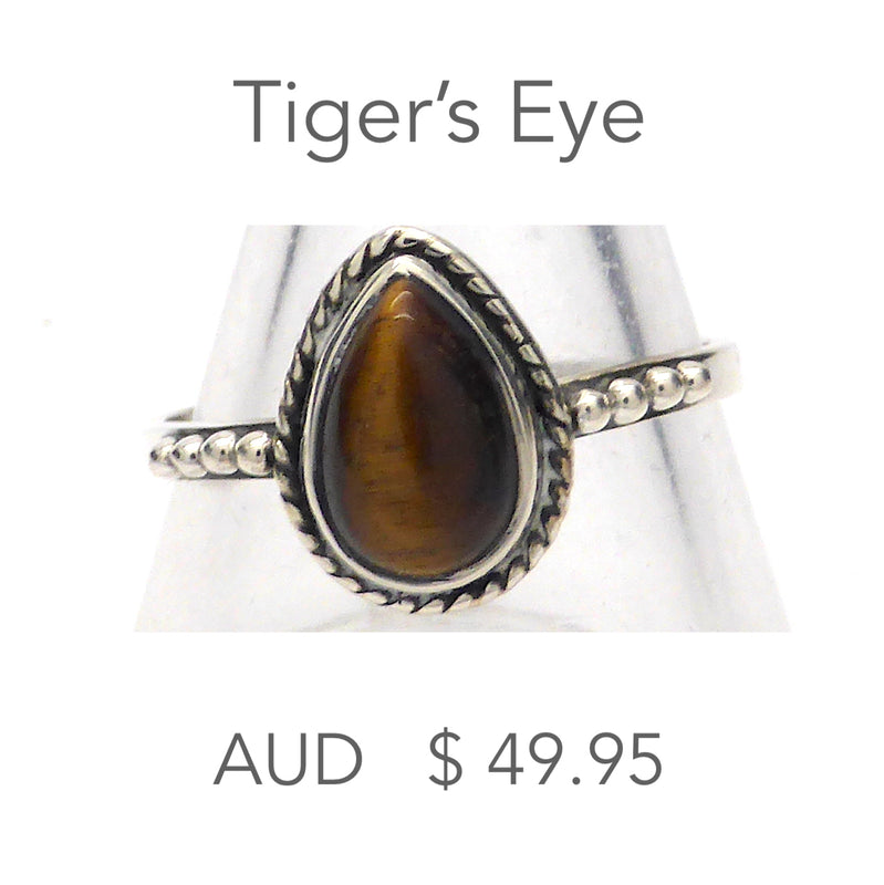Tiger's Eye Ring | Small Teardrop Cabochon | 925 Sterling Silver | Silver Rope & Ball detail | US Size 5, 8, 9, 10  | Crystal Heart Melbourne Australia since 1986