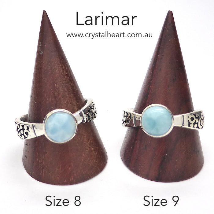 Larimar Ring | 8 mm round Cabochon | 925 Silver | Elegant design with tapered band with engraving detail | Size 8 and 9 |Genuine Gemstones from  Crystal Heart Australia since 1986