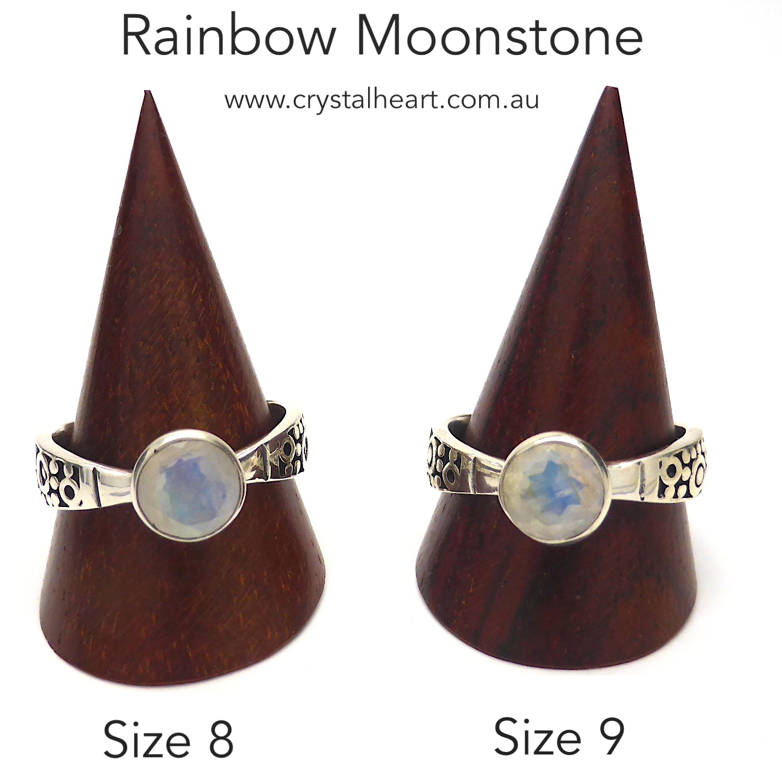 Rainbow Moonstone Ring | 8 mm round Faceted Stone | Good Clarity and Blue Flash | 925 Silver | Elegant design, tapered band with engraving detail | Size 9 or 10 | Genuine Gemstones from  Crystal Heart Australia since 1986
