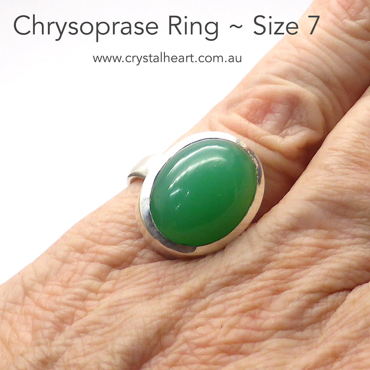 Chrysoprase Ring, Oval Cabochon, 925 Silver p2