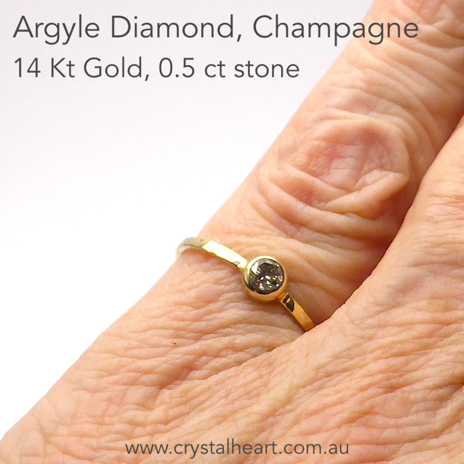 Smoky Champagne Argyle Diamond Solitaire Ring | Faceted Round | Approx 0.5 carat | Solid 14 Kt Yellow Gold with subtle pattern  | US Size 7.25 | AUS Size O | Genuine Gems from Crystal Heart Melbourne Australia since 1986
