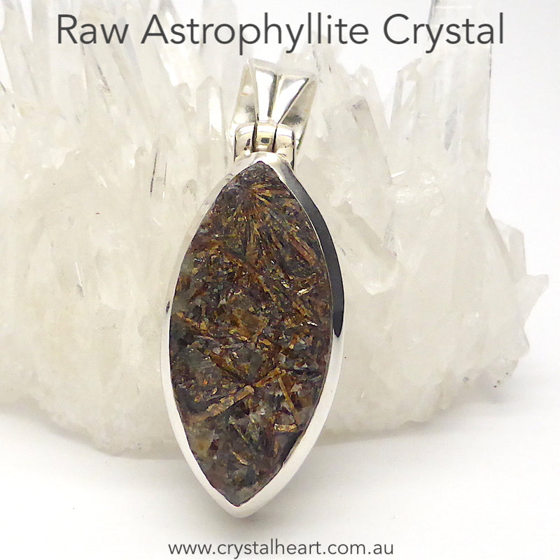 Astrophyllite Crystal Cluster Natural Druse Pendant | 925 Sterling silver | Metallic gold bronze | Star-Leaf | Scorpio | Feldspar Matrix | Genuine Gemstones from Crystal Heart Melbourne since 1986