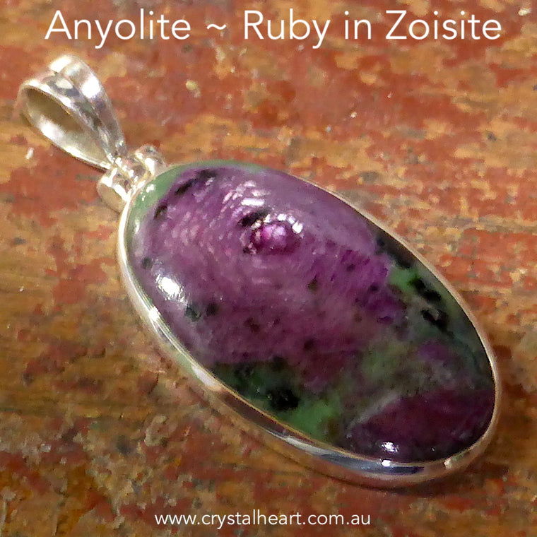 Ruby in Zoisite (Anyolite) Pendant, 925 Silver, g2