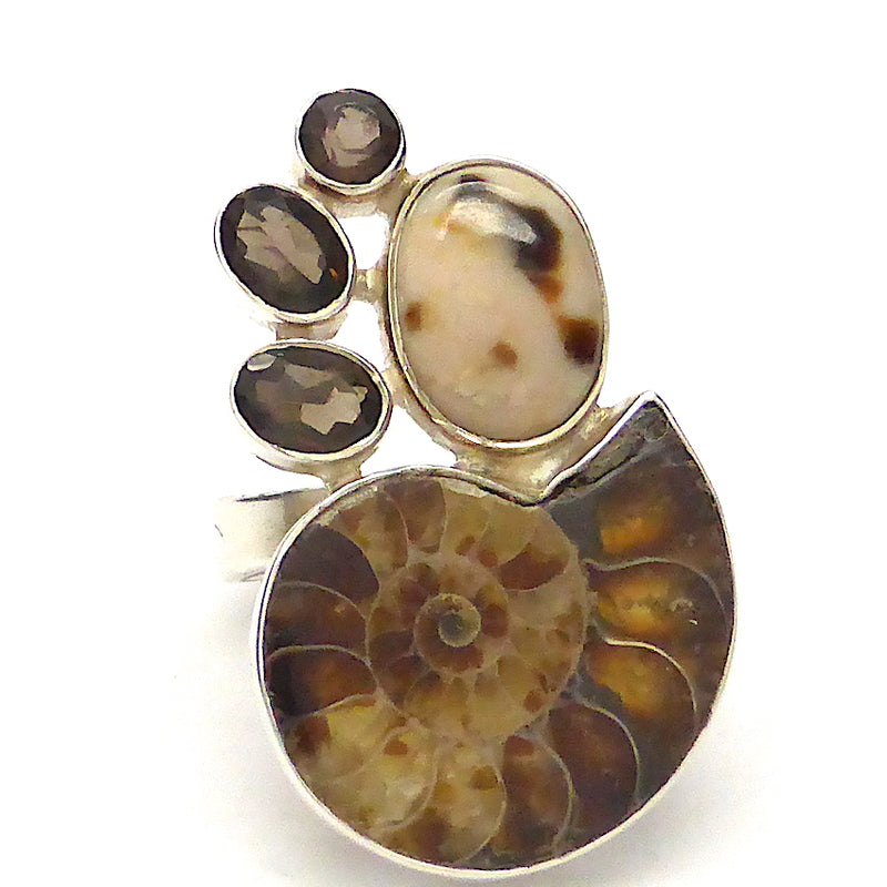 Ammonite Fossil Ring with Smoky Quartz |  925 Sterling Silver | US Ring Size 7 ~ 9 | Genuine Gems from Crystal Heart Australia Melbourne Australia since 1986