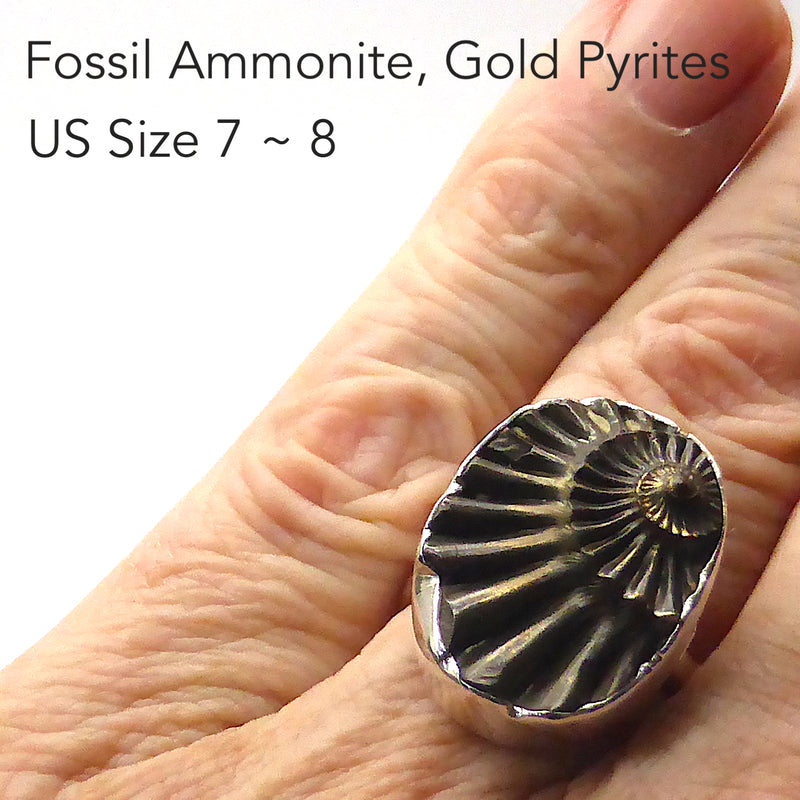 Ammonite Fossil Ring | Imprint of the Fossil coated with Iron Pyrites |  925 Sterling Silver | Steam Punk | US Ring Size 7 ~ 9 | Genuine Gems from Crystal Heart Australia Melbourne Australia since 1986
