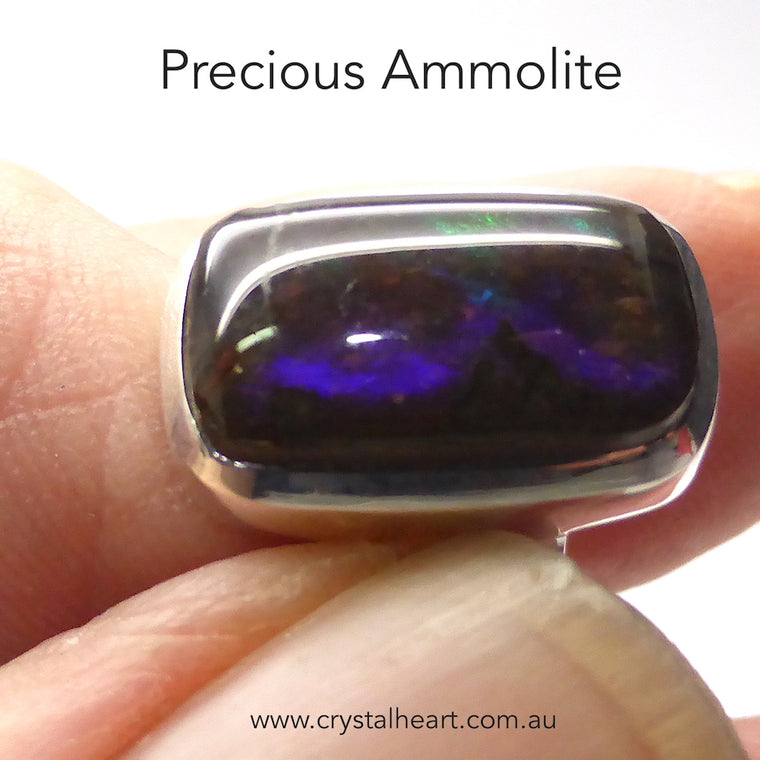 Ammolite Ring, Oblong Cabochon, 925 Silver gj1